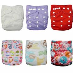 Amazon.com: Alva Baby 6pcs Pack Fitted Pocket Washable Adjustable Cloth Diaper with 2 Inserts Each (Girl Color) 6DM06: Baby