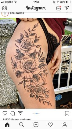 Feed Your Ink Addiction With 50 Of The Most Beautiful Rose Tattoo Designs For Men And Women - beautiful roses tattoo ideas © tattoo artist ©Chik. Rose Tattoos For Women, Hip Tattoos Women, Sexy Tattoos, Body Art Tattoos, Sleeve Tattoos, Small Tattoos, Tattoos Of Girls, Tattoo Sleves, Gemini Tattoos