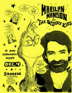 Early Marilyn Manson (and the Spooky Kids) concert flyer.    1991.