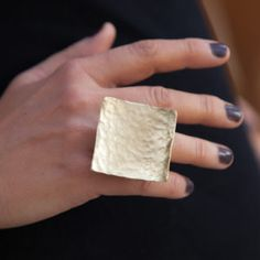 Wide square Handcrafted Hammered Ring,Artisan Jewelry, Gift for Her - George Lemmas Jewelry Designer
