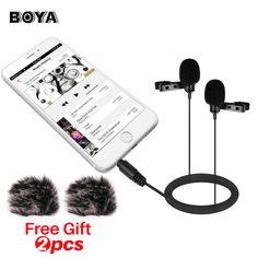 [ 35% Off ] BOYA BY-LM400 Dual Lavalier Microphone Omnidirectional Mic for Recording Interviews for iPhone iPad and most of Android Devices