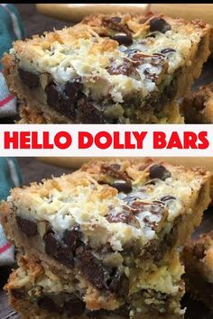 Hello Dolly Bars are one of the best dessert recipes. They are easy to make and are a delicious treat with chocolate chips, coconut, Eagle Brand Sweetened Condensed Milk, pecans, and graham crackers. Desserts How To Make Hello Dolly Bars 13 Desserts, Brownie Desserts, Best Dessert Recipes, Sweet Recipes, Recipes Dinner, Southern Desserts, Easy Recipes, Potluck Desserts, Holiday Desserts