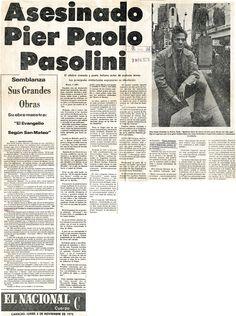 Asesinado Pier Paolo Pasolini. Publicado el 3 de noviembre de 1975.