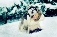 Husky with adorable child. I want one.   The Husky, not the child.