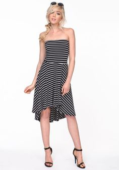 Get in line with this casual knit dress! Soft jersey strapless dress with a fitted waist and flared skirt!   http://www.foxyblu.com/