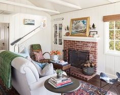 cottage living room white couch - Google Search