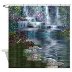 Waterfalls Shower Curtain> Bath> Digi Scrap Cafe