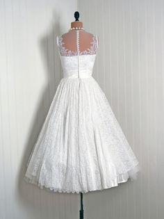 1950's Vintage Crisp-White French Chantilly-Lace & Satin Couture Sheer-Illusion Plunge Ballerina-Cupcake Full Circle-Skirt Wedding Dress