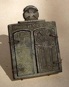 Coptic carved stone icon. About 4.5 inches hig