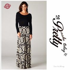 "🌺HP 7/5 & 2/8🌺GORGEOUS BAROQUE PRINT MAXI RESTOCKED! This is an exquisite dress and beautifully made. Soft polyester/spandex fabric. Black and white baroque print skirt, attached fabric tie can be tied in front or back. A classic. NWOT. Made in USA🇺🇸♦️MEDIUM: bust 33"" stretching to 40"" waist 29"" stretching to 35"" hips 44"". Other measurements available upon request. tla2 Dresses"