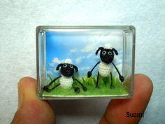 Twin Funny Sheep - Micro Crochet Miniature Sheep.