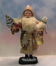 German Style Santa Candy Container Vintage Putz House Sheep by Jean Littlejohn | eBay
