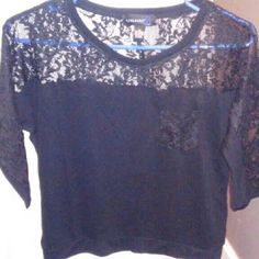 Level Eight L8 Shirt Brand new Beautiful all black shirt that has lace on top and top back of shirt, down the sleeves, and a lace pocket on left chest area. Level Eight L8 Tops Blouses