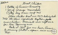 I have been making this recipe for over 30 yrs. it is another recipe that i got when i married. We call it Apricot Chicken or No Time to Cook Sweet and Sour Chicken. The name is very unusual. It was the name atop this recipe in a cookbook a dear friend Retro Recipes, Old Recipes, Vintage Recipes, Meat Recipes, Chicken Recipes, Cooking Recipes, Chicken Meals, Turkey Recipes, Blender Recipes