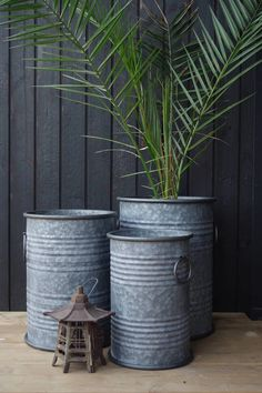 Industrial Galvanised Barrel Planters - Set of 3 Galvanized Planters, Metal Planters, Large Planters, Large Garden Pots, Large Plant Pots, Trough Planters, Patio Planters, Oil Barrel, Metal Barrel