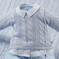 Saída de Maternidade Beth Bebê Azul Masculina Tricô Luxo