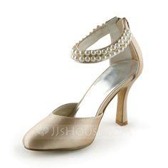 Frauen Satin Stöckel Absatz Geschlossene Zehe Absatzschuhe mit Nachahmungen von Perlen (047005443)