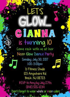 Glow Dance Birthday Party Invitations. They are perfect for a glow themed dance party. This colorful invitation is done in neon colors. The glow party invitations can be personalized for a any event.   Envelopes: White envelopes are included.Sold in sets of: Sold Individually Card Type: Flat Card Size: Approx. 5 x 7 Paper Weight: Professional 80lb. white card stock, matte finish. Proofs via email: REQUIRED. Proofs are normally emailed within 24-48 hours of receiving pa