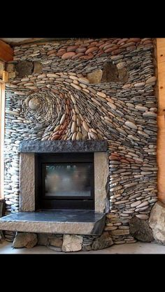 mosaic fireplace. So cool!