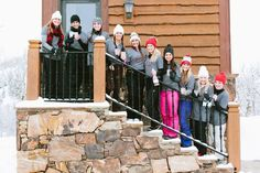 bridesmaids-outside-in-the-snow http://itgirlweddings.com/flannel-themed-bachelorette-party-weekend/