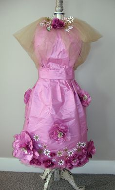 Sensible Pearls ~  Valentines dress made from recycled packing paper.