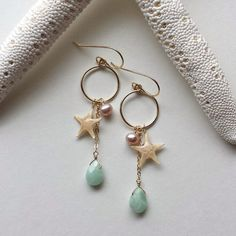 Tiny Starfish Hoop Earrings Starfish Dangle by BellaAnelaJewelry