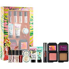 Benefit Cosmetics - Beauty Score! Great for a smaller/lighter travel bag. I refill the small containers and continue to use and carry, love and have all products in full size except bronzer and blush because the small size lasts a long time, first time using bamba blush, it beautiful and the bronzer hoola is my favorite also as a countour for med-light skin