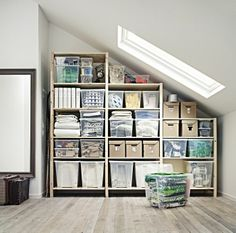 Turn an awkward space into useful storage. The IVAR shelving system can be customized to make the most of any space.