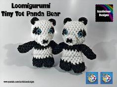 Rainbow Loom Loomigurumi Tiny Tot Panda Bear made w/ Rainbow Loom Bands - YouTube