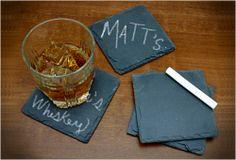 Chalkboard Slate Coasters-- Keep track of your drink!
