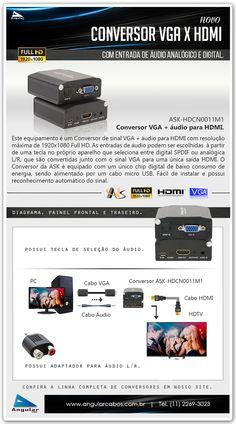 Conversor VGA para HDMI com entrada de áudio analógica L/R e digital SPDIF. ASK-HDCN0011M1
