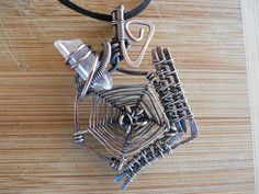 Spider Web Pendant Quartz Crystal Point Wire by OurFrontYard, $33.77