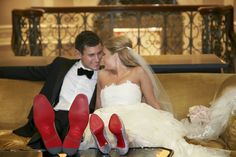 The bride and groom both paired their wedding-day attire with Christian Louboutin shoes, showing off the famous red-lacquered soles. #groomfashion #Louboutinshoes Photography: KingenSmith. Read More: http://www.insideweddings.com/weddings/opulent-chicago-wedding-with-elaborate-decor-entertainment/545/