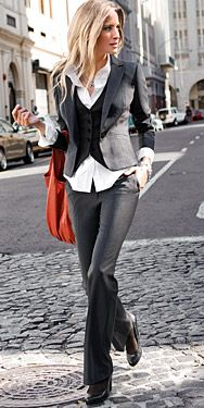 Business dressy - I would totally wear this if I lived somewhere colder and worked somewhere that expected me to wear business clothes. Love the jacket, vest and shirt peeking out from them. The pants are awesomeness too.