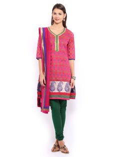 Buy Anouk Women Pink & Green Chanderi Jacquard Churidar Kurta With Dupatta - 553 - Apparel for Women - 369442