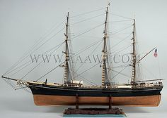 Antique Ship Model, Clipper Ship Sovereign of the Seas, Painted and Rigged, port side view
