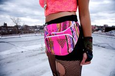 Andean textile adjustable triangle studded fanny pack- neon pink/rainbow via Etsy