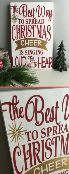"Elf quote ""The best way to spread Christmas cheer is singing loud for all to hear"". That's my favorite Christmas movie! #commissionlink #etsy #Christmas #Christmasdecor #Christmastime #movies #rusticdecor"