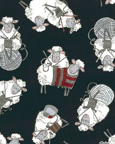 Do Ewe Knit? - Sheep Sweaters - Black - Shaan the Sheep as a knitter Knitting Quotes, Knitting Humor, Sheep Fabric, Sheep Art, Knit Art, Sheep And Lamb, Knit Or Crochet, Whimsical Art, Art Plastique