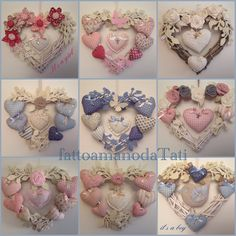 Pin by Ann-Britt Granström on korsstygn Hobbies And Crafts, Diy And Crafts, Arts And Crafts, Christmas Crafts, Felt Flowers, Fabric Flowers, Sewing Crafts, Sewing Projects, Fabric Hearts