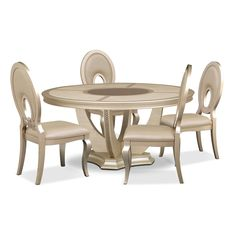 Alluring Tempo. When drama and glamour come together in a design like this, it can only be the Allegro dining room collection. Its platinum color has a chic appearance, while the round table's glass inlays lend sparkling sophistication. Chairs feature an elegant champagne-colored upholstery on seats and chair backs. The hardwood frame means the Allegro will stand the test of time. Five-piece package includes round dining table and four side chairs, as shown.