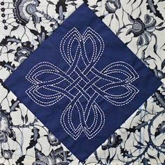 Danu knot design stitched in Sashiko style. This #2 in my Legend of Merlin series of preprinted Celtic knot blocks.