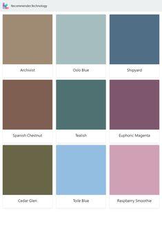Archivist, Spanish Chestnut, Cedar Glen, Oslo Blue, Tealish, Toile Blue, Shipyard, Euphoric Magenta, Raspberry Smoothie