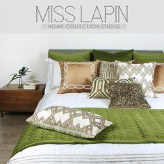 MISS LAPIN新古典/酒店样板间床上用品套件绒面/绿色金色十五件套-淘宝网