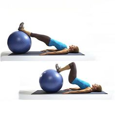 Skip squats, do: Bridge drag - New Moves for a Better-Than-Ever Body - Health Mobile Body Fitness, Fitness Diet, Fitness Motivation, Health Fitness, Hiit, Stability Ball Exercises, Core Stability, Toning Exercises, Crossfit