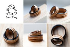 wedding rings, recycled wooden skateboard ring, upcykling,  we love wood from skateboards