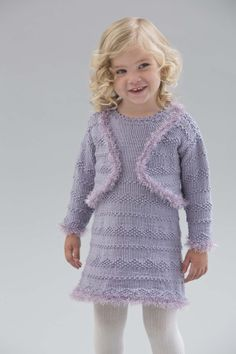 A new dress for a date with your little sweetheart. Knit the matching bolero for a perfect set.