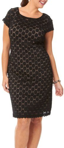 Tiana B Plus Lace Scallop Trim Shift Dress - List price: $80.00 Price: $48.00 Saving: $32.00 (40%)