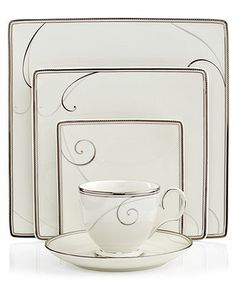 Noritake Dinnerware, Platinum Wave Square 5 Piece Place Setting - Fine China - Dining & Entertaining - Macys