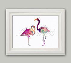 Couple Flamingos Watercolor Print Flamingo Wall Art Flamingo Wall Decor Flamingo Nursery Art Decor Nursery Art Home Decor Flamingo Poster
